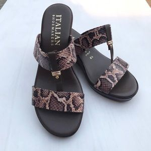 NWT ITALIAN SHOEMAKERS Animal Print Wedge Sandals!